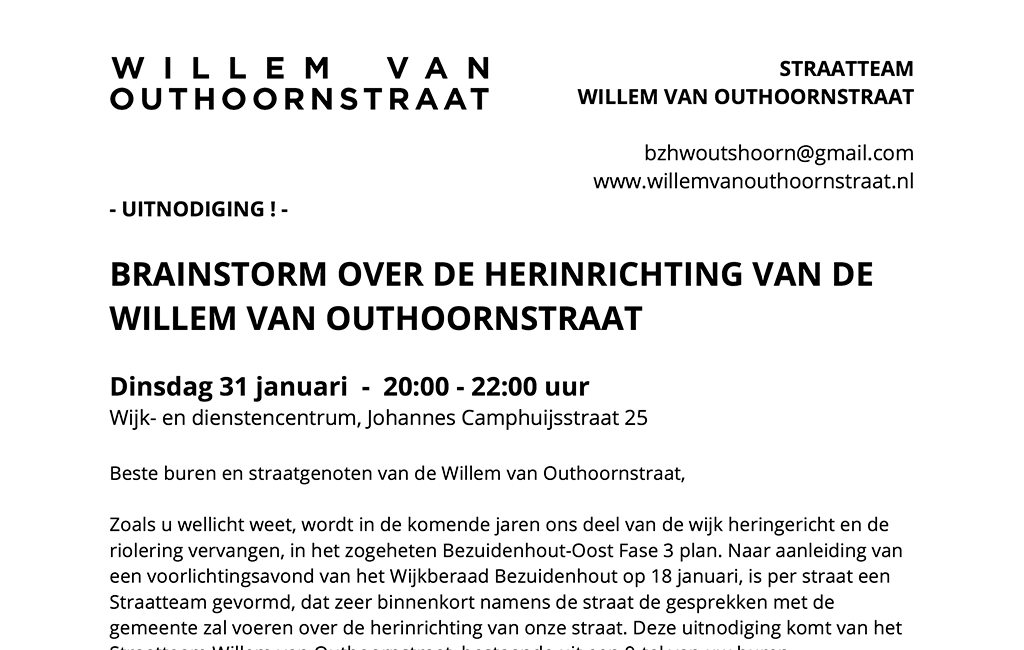 Flyer Uitnodiging Brainstorm Herinrichting