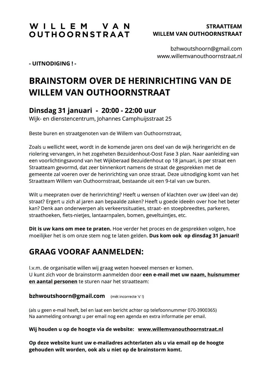 Flyer uitnodiging brainstorm Willem van Outhoornstraat 31 januari 2017